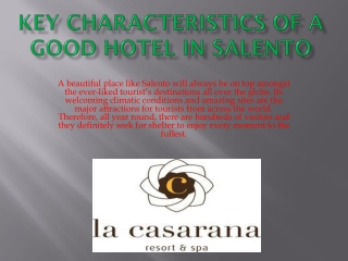 Key Characteristics of a Good Hotel in Salento