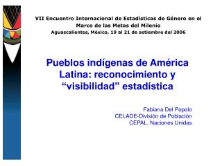 VII Encuentro Internacional de Estadísticas de Género en el Marco de las Metas del Milenio Aguascalientes, México, 19 al