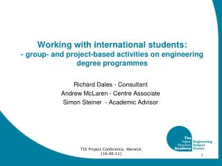 Working with international students:  - group- and project-based activities on engineering degree programmes