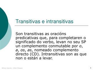Transitivas e intransitivas