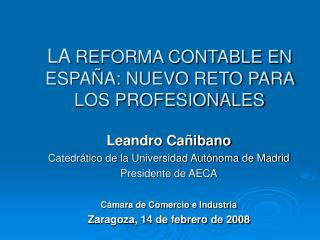 LA REFORMA CONTABLE EN ESPAÑA: NUEVO RETO PARA LOS PROFESIONALES