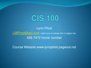 CIS 100