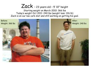 Zack   23 years old   5  10  height Starting weight on March 2010: 366 lbs   Today s weight Oct 2011: 240 lbs weight los