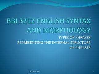 BBI 3212 ENGLISH SYNTAX AND MORPHOLOGY