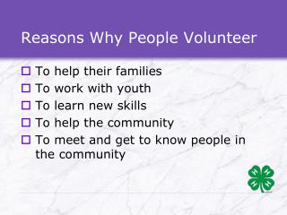 Reasons Why People Volunteer