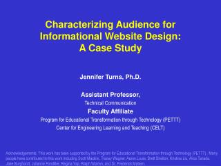 Characterizing Audience for Informational Website Design:   A Case Study