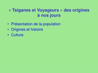 «Tsiganes et Voyageurs» des origines à nos jours