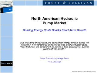 North American Hydraulic Pump Market Soaring Energy Costs Sparks Short-Term Growth