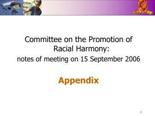 Committee on the Promotion of Racial Harmony: notes of meeting on 15 September 2006 Appendix