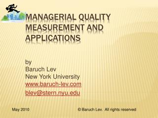 Managerial Quality Measurement and Applications
