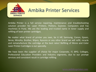 Ambika Printers-Plotters-Laptop Repairing Services in Pune