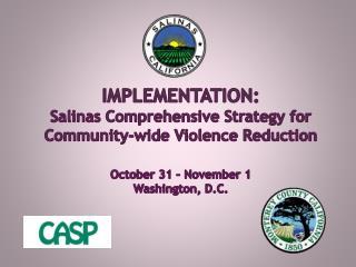IMPLEMENTATION: Salinas Comprehensive Strategy for Community-wide Violence Reduction October 31 – November 1 Washington,