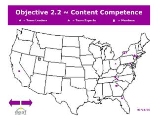 Objective 2.2  Content Competence   Team Leaders                             Team Experts   Members