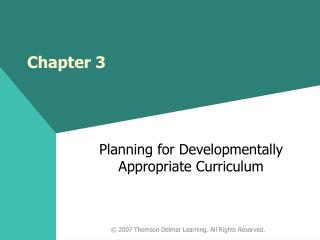 Planning for Developmentally Appropriate Curriculum