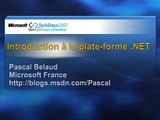 Introduction à la plate-forme .NET