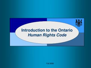 Introduction to the Ontario  Human Rights Code