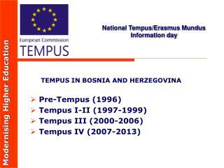 National Tempus/Erasmus Mundus Information day