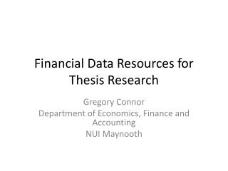 Financial Data Resources for Thesis Research