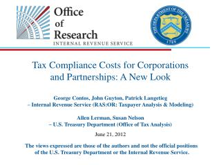 Tax Compliance Costs for Corporations  and Partnerships: A New Look