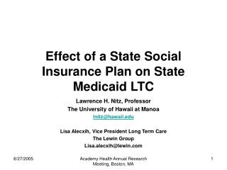 Effect of a State Social Insurance Plan on State Medicaid LTC