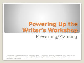 Powering Up the Writer's Workshop