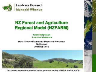 NZ Forest and Agriculture Regional Model (NZFARM)