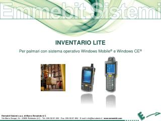 INVENTARIO LITE Per palmari con sistema operativo Windows Mobile ®  e  Windows CE ®