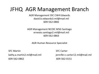 JFHQ AGR Management Branch
