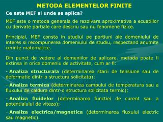 METODA ELEMENTELOR FINITE
