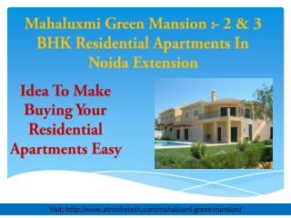 Mahaluxmi Green Mansion Residential Apartments Investing Tip