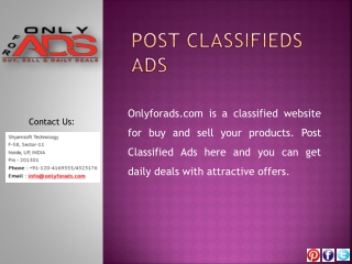 Onlyforads.com - A Complete Classified Ads Solution