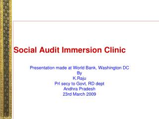 Social Audit Immersion Clinic