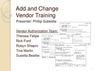 Add and Change  Vendor Training