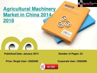 China Agricultural Machinery Industry to Grow at 10.38% CAGR