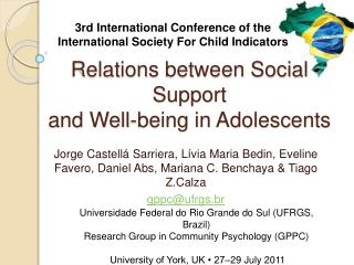 Relations between Social Support and Well-being in Adolescents
