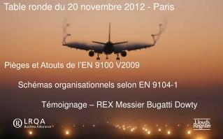 Pièges et Atouts de l'EN 9100 V2009 Schémas organisationnels selon EN 9104-1 Témoignage – REX Messier Bugatti Do
