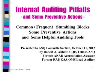 Internal  Auditing  Pitfalls - and  Some  Preventive  Actions -