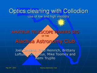 Optics cleaning with Collodion Use of low and high viscosity