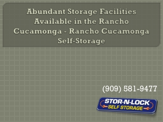 Abundant Storage Facilities Available in the Rancho Cucamong