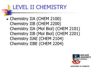 LEVEL II CHEMISTRY