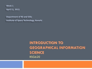 Introduction to Geographical Information Science RSG620