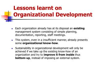 lessons learnt on  organizational development