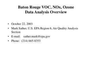 Baton Rouge VOC, NOx, Ozone Data Analysis Overview