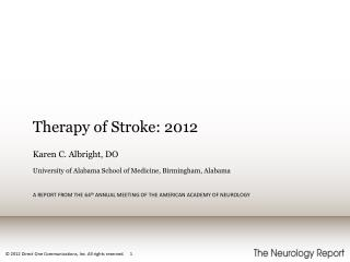 Therapy of Stroke: 2012