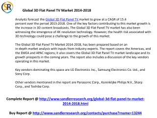 3D Flat Panel TV Market to Grow Globally at a CAGR of 15.4 p