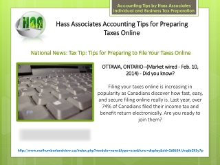 Hass Associates Accounting Tips for Preparing Taxes Online