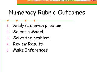 Numeracy Rubric Outcomes