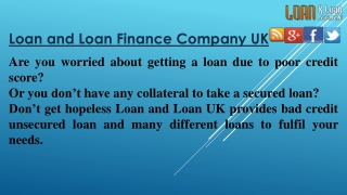 Loan and Loan Finance UK