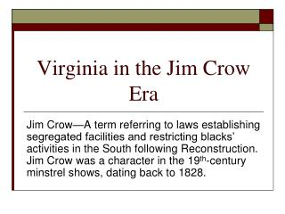 Virginia in the Jim Crow Era