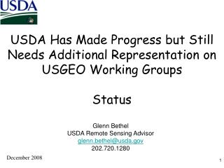 USDA Has Made Progress but Still Needs Additional Representation on USGEO Working Groups Status